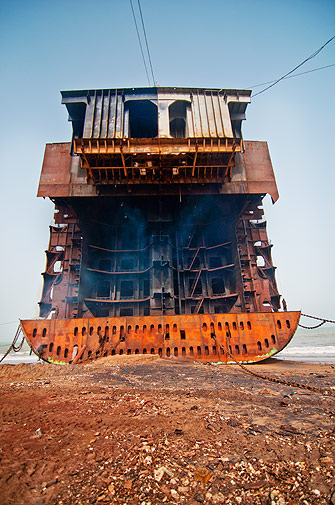 This particular ship had 54,000 tons of steel. A ship this big takes around 4 - 5 months to be completely broken down.