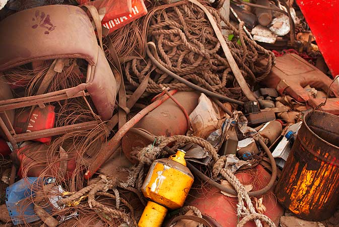 Apart from any cargo that is on the vessel, other items that are removed include the ships navigation machinery and equipment, high performance computers, electric cables, motors, compressors, storage tanks, communication equipment, generators, tools and machines, safety clothing and equipment, fire fighting and controlling material, big ropes and hauling machinery, plastic drums, plastic pipes and numerous other things.