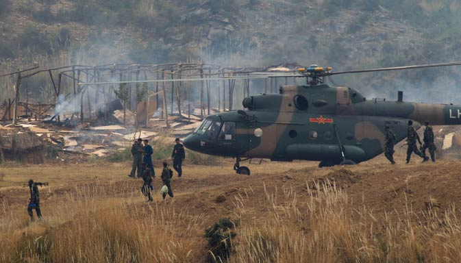 Chinese and Pakistani troops take part in a joint war exercise. ? AP  Photo.