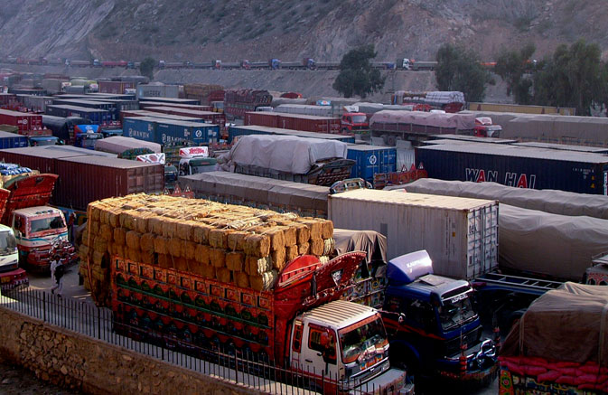 Cargo trucks, including those carrying supplies to Nato forces in Afghanistan, are seen halted along the Pakistan-Torkham border, after it was shut down to traffic November 26, 2011. ? Reuters Photo