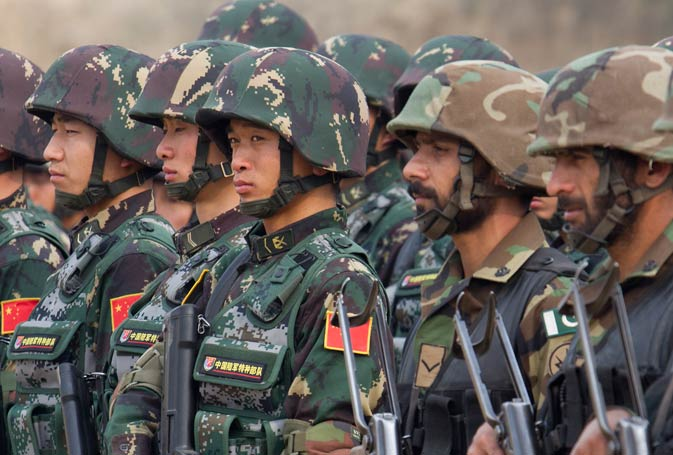 Pakistan and Chinese soldiers take part in a joint. AP Photo.