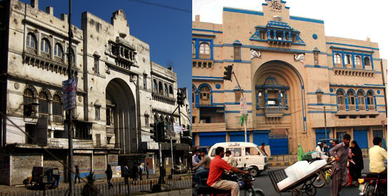 The Lakshmi chowk facade before (left) and after (right) it underwent drastic changes brought about by the authorities. —Photos by Maryam Rabi