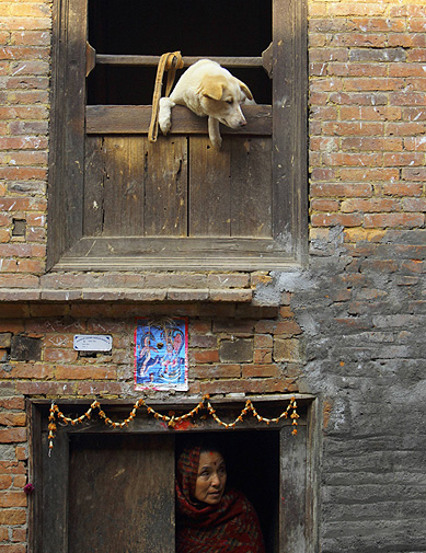 A dog looks out from a window as a woman comes out from the door of her house at the ancient city of Bhaktapur near Nepal's capital.
