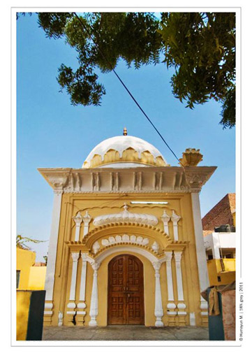 One of the buildings inside the Gurdwara complex.- Photo by Humayun Memon | 18% grey