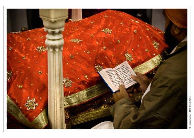 A man reads form the Guru Granth Sahib.- Photo by Humayun Memon | 18% grey