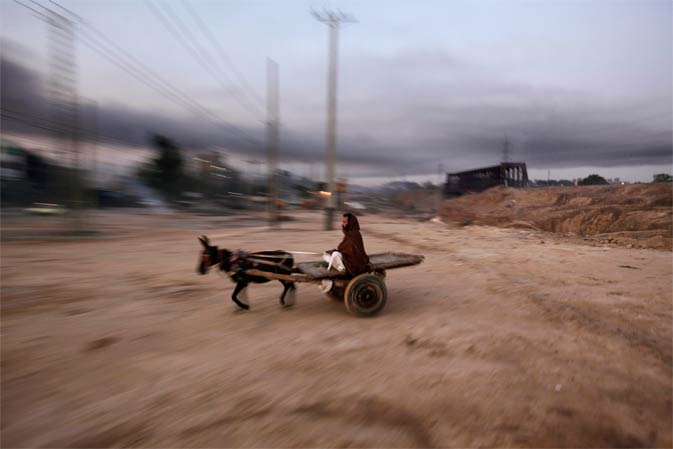 ?	A Pakistani man drives his donkey-cart toward the main road, on the outskirts of Islamabad, Pakistan, early Monday.- AP Photo