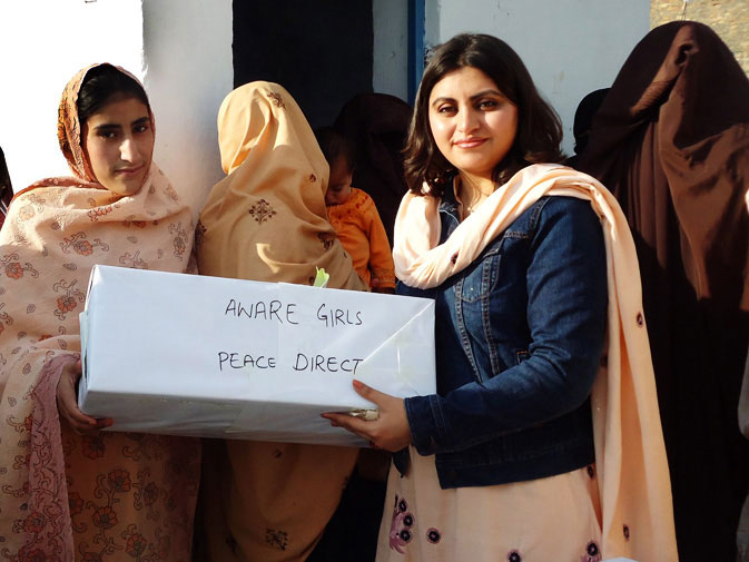 Aware Girls is an organization established by the 25-year-old Gulalai Ismail (Right). Being a student of Quaid-e-Azam University she realized the importance of the role women in society play. Hence with a vision of providing equal right to women and to achieve education, employment, governance, and justice, Gulalai endeavored to set up Aware Girls. The organization is based on a unique strategy, where problems are first discussed then a team is set up and briefed after which several teams are sent to areas requirin