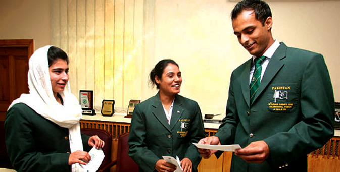 Twenty-one year old Sarah Nasir (Left) is the only female karateka from Pakistan to have earned a gold medal in karate at a recognised martial arts competition. It was during the South Asian Games in Dhaka that Sarah bagged a gold in the -53kg kumite (sparring) and bronze in kata (imaginary fight routine) events. A student of the Shotokan style, she earned her black belt at the age of eight. Sara started training Karate at the age of three and gives the credit of her success to her mother who enrolled her in Karate