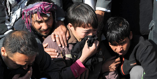 A suicide attack tore through a crowd of worshippers in Kabul on Tuesday as they marked the holy day of Ashura. —AFP Photo