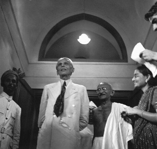 Gandhi and Jinnah speaking in Mumbai, September, 1944.   Jinnah preached his lesson and convinced more and more people to join his party and on March 23, 1940, his political party adopted a mandate to establish an independent state for the Muslim Indians in the region. This ideology was opposed by various political lobbies and Jinnah was considered a fierce competition for the politician of the likes of Jawaharlal Nehru and Mahatma Gandhi.