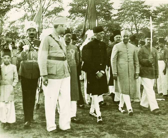 Quaid-e-Azam and Nawabzada Liaquat Ali Khan along with other Muslim League leaders arriving at the venue of the Pakistan Resolution Session at Lahore on March 23, 1940.