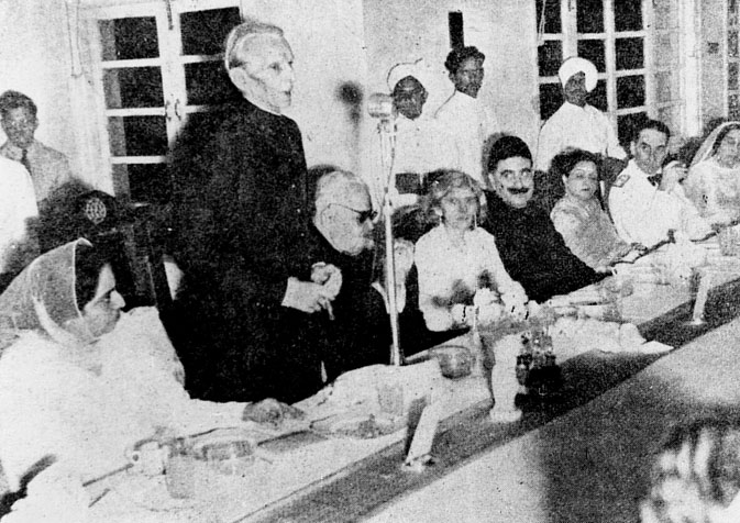 Quaid-e-Azam speaking at the Independence Day dinner at the Governor-General's House in Karachi of August 14, 1947. Jinnah, was the first head of state and took oath as the governor general on August 15, 1947.