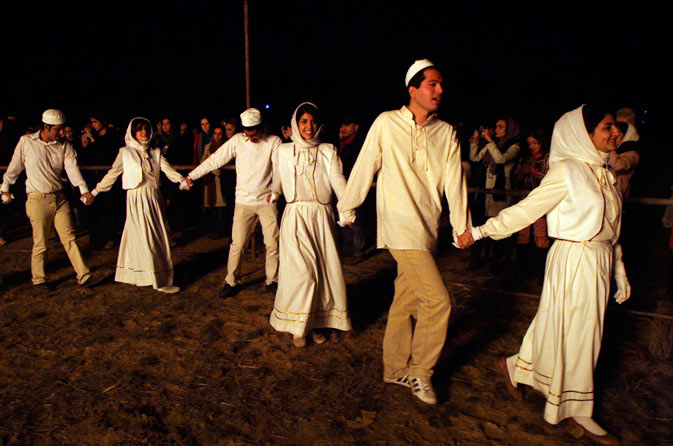 Iranian Zoroastrians celebrate their ancient mid-winter Sadeh festival around a giant bonfire