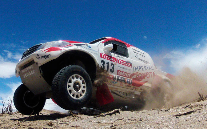 South Africa's Vos Ducan and co-pilot Howie Robert drive their Toyota during the fifth stage of the fourth South American edition of the Dakar Rally 2012 from Chilecito to Fiambala.- Reuters Photo
