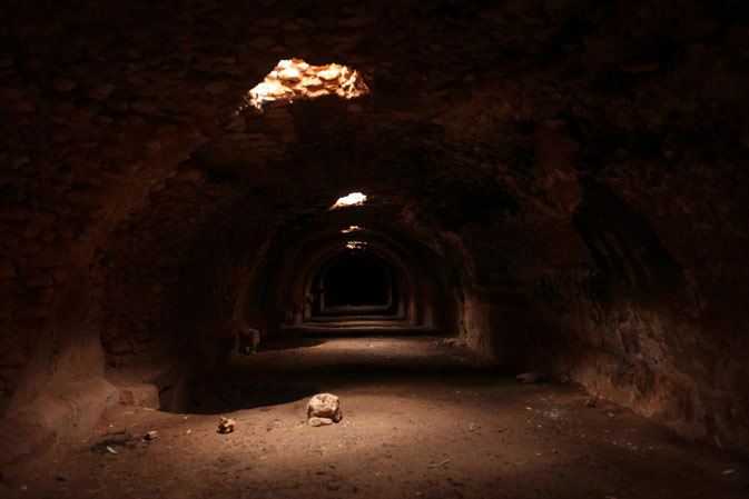 A water storage facility is pictured underneath the ancient city of Ptolemais, near the town of Ad Dirsiyah, about 100 km (62 miles) east of Benghazi January 27, 2012.