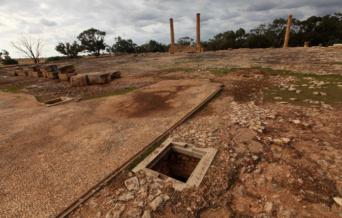 Entrances to water storage facility are pictured at the ancient city of Ptolemais, near the town of Ad Dirsiyah, about 100 km (62 miles) east of Benghazi January 27, 2012