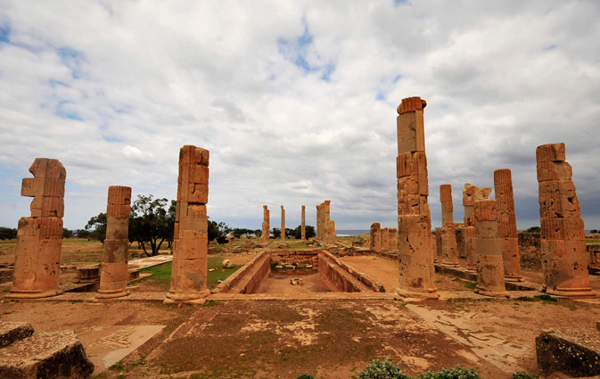 Palace columns are seen in the ancient city of Ptolemais, near the town of Ad Dirsiyah, about 100 km (62 miles) east of Benghazi January 27, 2012