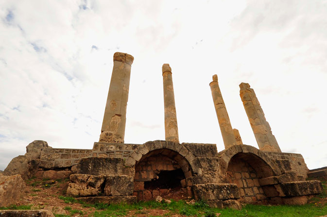 Palace columns are seen in the ancient city of Ptolemais, near the town of Ad Dirsiyah, about 100 km (62 miles) east of Benghazi January 27, 2012.