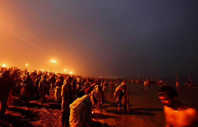 "Hindu devotees take on ""Paush Purnima"". ? AP Photo"