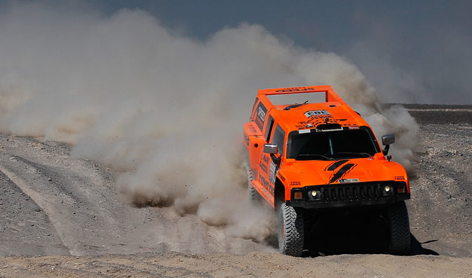 Hummer driver Robby Gordon and co-driver Johnny Campbell, both of the U.S., compete in the 9th stage of the 2012 Argentina-Chile-Peru Dakar Rally between Antofagasta and Iquique, Chile, Tuesday Jan. 10, 2012. - AP Photo