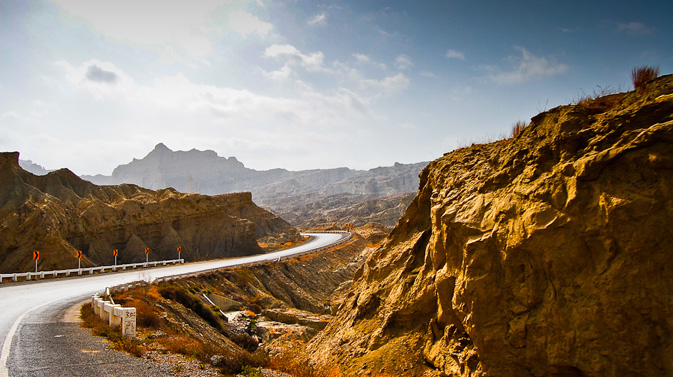 The road leading to the Makran coastal highway.