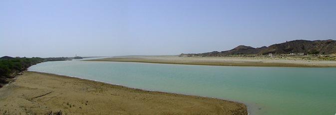 The Hingol river at the Hingol national park. The river is stretched at 350 miles and is the longest river in Balochistan.  The river streams throughout the year, as oppose to most streams in Balochistan, which only flow during exceptional rains.