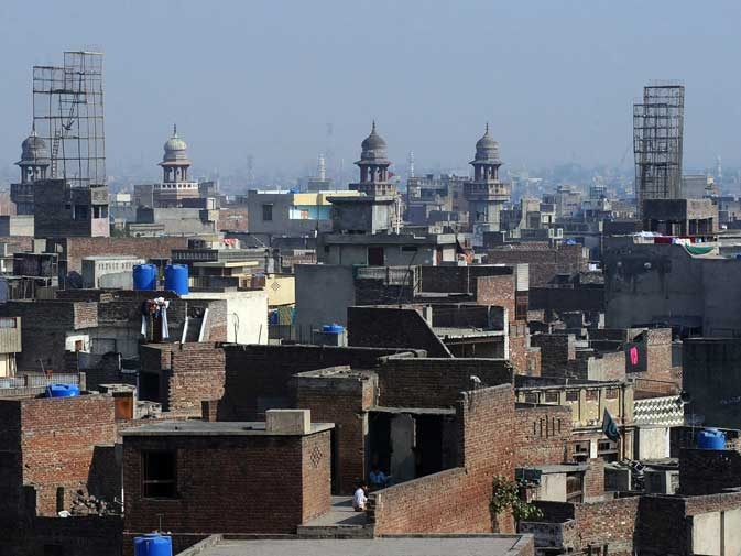 This photograph taken on November 16, 2011 shows a general view of the old residential walled city of Lahore.