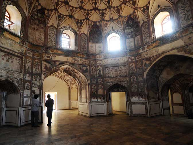 This photograph taken on October 29, 2011 shows an interior view of the Shahi Hamam (Royal bath) built during the Mughal era in the walled city of Lahore.