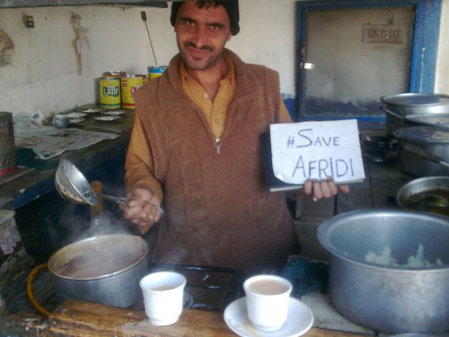 My villagers showing support for Shahid Afridi.