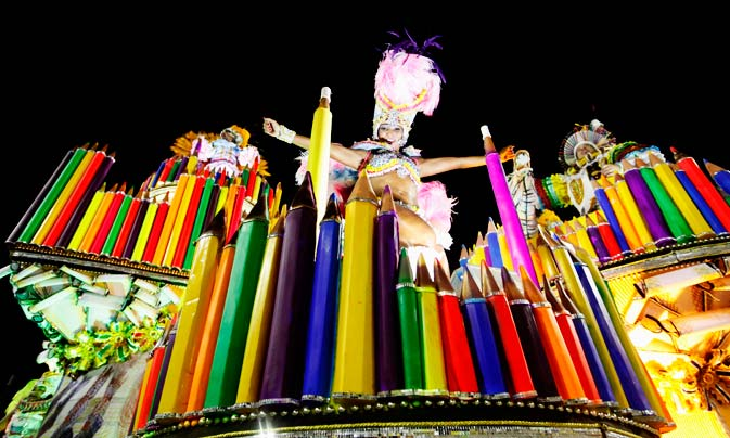 Revellers from the Mocidade samba school parade on the first night of the annual Carnival parade in Rio de Janeiro's Sambadrome, February 19, 2012. ? Reuters Photo
