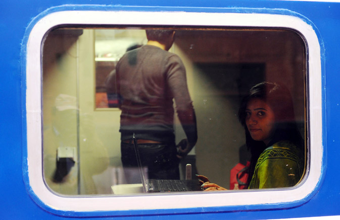 Passengers sit in a newly launched Pak Business Express train prior to departure in Lahore on February 3, 2012? AFP Photo