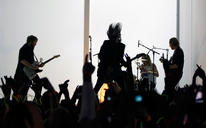 Foo Fighters perform outside the Grammy Awards venue. ? Reuters Photo