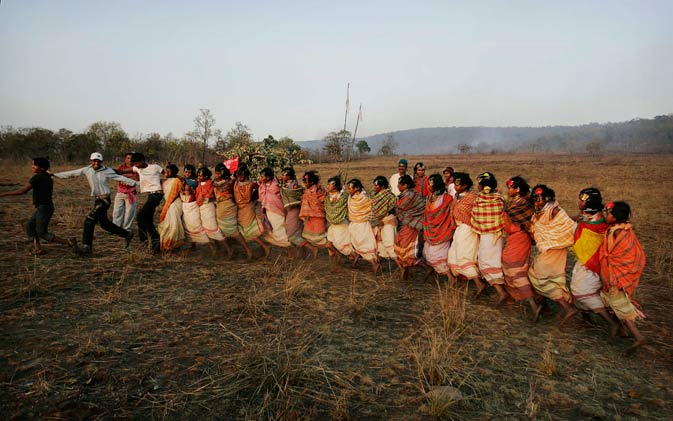 Indian Dongaria Kondh tribals dance during the annual festival of Niyam Raja in Lanjigarh at the sacred Niyamgiri Hill, about 400 kilometers (249 miles) from the eastern Indian city of Bhubaneswar, Orissa, India.?AP Photo
