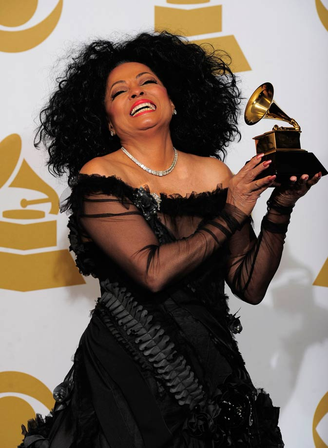 Diana Ross poses backstage with her Lifetime Achievement award. ? AP Photo