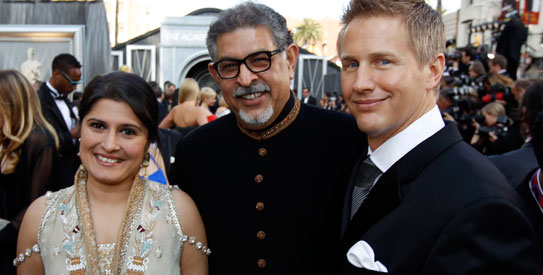 Dr Mohammed Jawad at the Oscars with Sharmeen Obaid-Chinoy (L) and Daniel Junge (R) – Photo by AP
