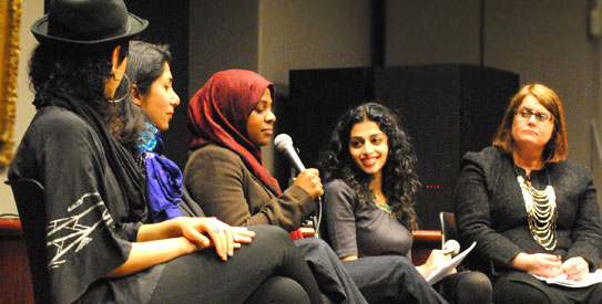 Ayesha Mattu, Nura Manzavi, Najva Sol and Patricia Dunn, the editors and two of the writers for Love Inshallah: The Secret Love Lives of American Muslim Women, attended a discussion organized by South Asian Journalists Association (SAJA) at Columbia University's Journalism School in New York. The discussion was moderated by Sarah Khan, an editor at Travel and Leisure magazine. — Photo by Sadef A. Kully/Dawn.com
