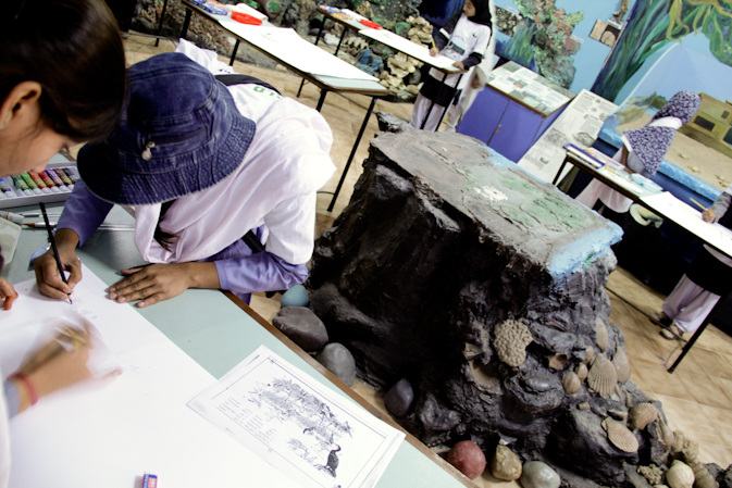 A students busy participating in a sketching competition organised by the WWF.