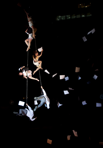 Members of the Voala Project Company, from Spain, perform during the 13th annual IberoAmerican Festival of Theater, FITB, in Bogota, Colombia, Wednesday March 28, 2012. ? AP Photo