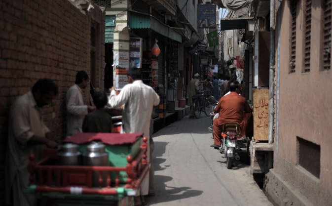 An alley-side bazaar is pictured in the old town section of Multan . ?AFP Photo