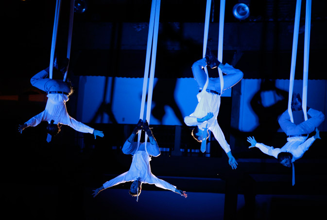 "Acrobats from Spain's dance company ""Voala"" perform during the XIII Ibero-American Theater Festival in Bogota March 28, 2012. ? Reuters Photo"