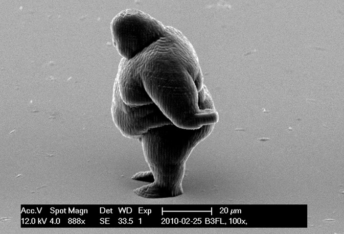 A handout electron microscope photograph shows a human figure created by a newly developed 3D printing technique for nano structures, made available to Reuters. ? Reuters Photo
