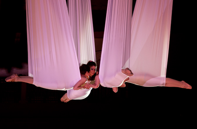 Members of Voala Project Company, from Spain, perform during the 13th annual IberoAmerican Festival of Theater, FITB, in Bogota, Colombia, Wednesday, March 28, 2012. ? AP Photo