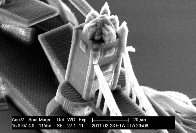 A handout electron microscope photograph shows a nano-scale model of London's Tower-Bridge created by a newly developed 3D printing technique for nano structures, made available to Reuters. ? Reuters Photo