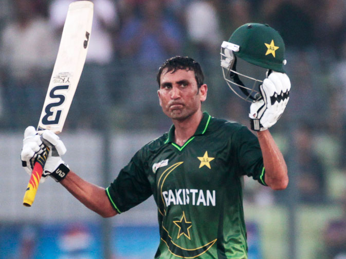 Younis Khan celebrates his half-century. -Reuters Photo