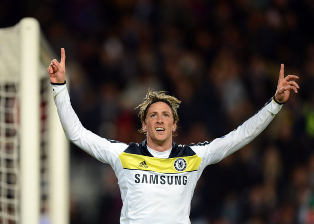 Chelsea's Spanish forward Fernando Torres celebrates after scoring during the UEFA Champions League second leg semi-final football match Barcelona against Chelsea at the Cam Nou stadium in Barcelona on April 24, 2012. Ten-man Chelsea reached the Champions League final after drawing 2-2 with holders Barcelona in their semi-final final second leg clash here to progress 3-2 on aggregate. ? Photo by AFP