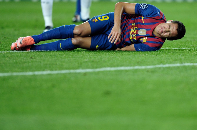 FC Barcelona's Alexis Sanchez, from Chile, reacts against Chelsea during a semifinal second leg Champions League soccer match at the Camp Nou stadium in Barcelona, Spain, Tuesday, April 24, 2012. ? Photo by AP
