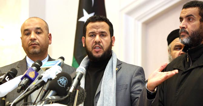 n a file picture taken  January 3, 2012 Abdelhakim Belhaj, Chairman of the Military Council of Tripoli, speaks during a press conference in the capital.