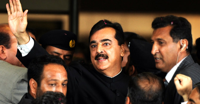 "Prime Minister Yousuf Raza Gilani outside the Supreme Court of Pakistan. ""The government, especially the prime minister, will enter the Seraiki region with a brave face,"" analysts."