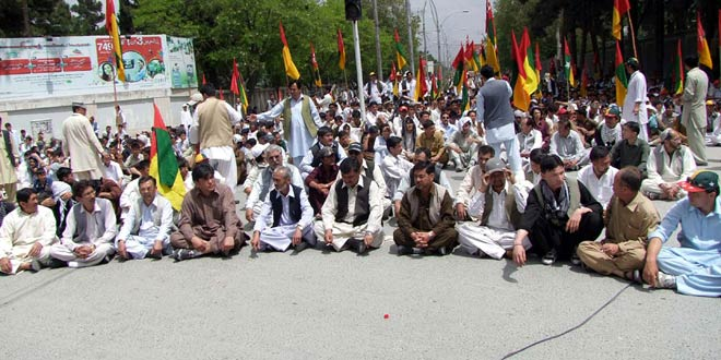 Supporters of Hazara Democratic Party (HDP) are protesting against target-killing of Hazara community during demonstration at Zarghoon road in Quetta on Friday, April 13, 2012.