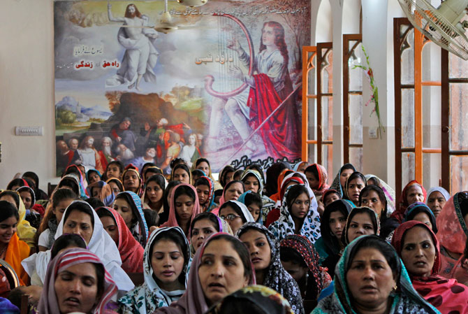 Pakistani Christians attend Easter Mass in a church in Lahore, Pakistan, Sunday, April 8, 2012. ? AP Photo